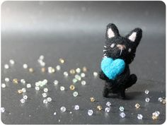 Blackie Cat  needle felted wool brooch crystal bead by KaffeeKatze