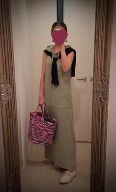 Long hoody dress with black sweater and multi color bag + white sneakers - http://ameblo.jp/nyprtkifml