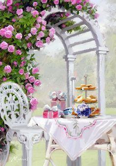 Trademark Fine Art 'Afternoon Tea II' Canvas Art by The Macneil Studio, Size: 22 x Multi-color Artist Canvas, Canvas Art, Decoupage, Photo Vintage, Jolie Photo, Rose Cottage, Painting Inspiration, Tea Party, Fine Art