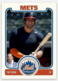 2016 New York Mets Tim Tebow Rookies Baseball Card