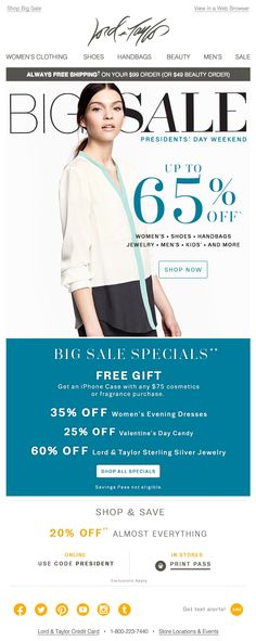 Lord & Taylor  President's Day email 2015
