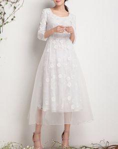 Fashion White Embroidered Evening A-line Midi Dress, White, HZY - VIPme