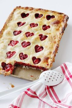 Strawberry Slab Pie - pretty and delicious! Love the heart cut out pie crust ❤️