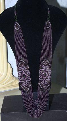 Ethnic bead necklace beaded jewelry handmade by HardangerUA Bead Loom Patterns, Beaded Jewelry Patterns, Beading Patterns, Collar Indio, Handmade Necklaces, Handmade Jewelry, Craft Jewelry, Leather Necklace, Beaded Necklace