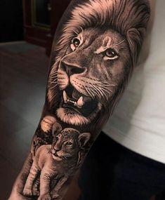 15+ Cool Lion Tattoo Designs Lion Cub Tattoo, Lion And Lioness Tattoo, Cubs Tattoo, Mens Lion Tattoo, Lion Tattoo Design, Lion Tattoo On Back, Lion Chest Tattoo, Lion Tattoo On Thigh, Lion Shoulder Tattoo