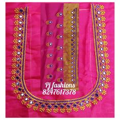 Saree Kuchu New Designs, Best Blouse Designs, Simple Blouse Designs, Simple Embroidery Designs, Machine Embroidery Designs, Embroidery Works, Hand Embroidery, Neck Designs For Suits, Sleeves Designs For Dresses
