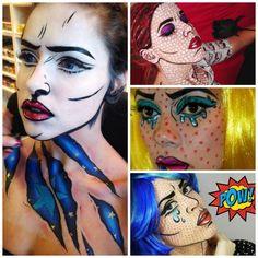 Pop art et maquillage Halloween effet bande dessinée pour filles