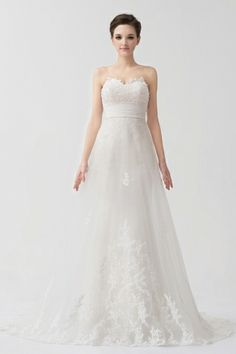 Organza Sweetheart Applique Beading Lace Wedding Dress With Detachable Train