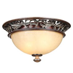 Hampton Bay 2-Light Caffe Patina Flush-Mount Ceiling Fixture-18008 - The Home Depot