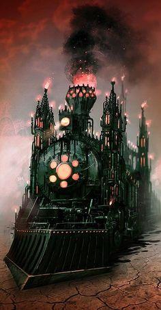ʂŧɘąɱ ~ Steampunk & Victoriana ~ Fantasy Train ~ By Luis Melo Foto Fantasy, Fantasy Art, Arte Steampunk, Alice Madness Returns, Old Trains, Steam Locomotive, Train Tracks, Concept Art, Gothic