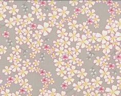 """Patchworkstoff \""""Wish\"""" mit Kirschblüten, natur-pastellrot"""