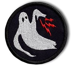 "[Single Count] Custom and Unique (3"" Inch) Rounded Imperfect Slate Sable Charcoal Spooky Ghost Army Halloween Lightning Circular Shaped Iron On Embroidered Applique Patch {Black, Red, & White Colors}"