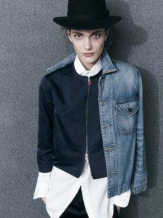 J.Crew Collection denim shirt jacket, satin jacket in navy, endless shirt in white and satin pull-on pant in navy.