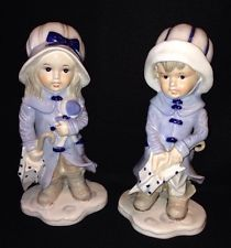 KPM VINTAGE FIGURINES BOY AND GIRL RAINCOAT AND UMBRELLA  PORCELAIN