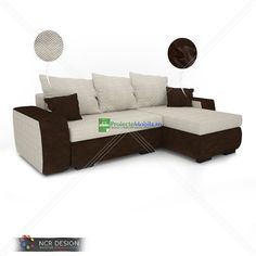model of a leather couch called Bullet, decorated with diamonds and fabric texture. Living Furniture, Home Furniture, Outdoor Furniture, Outdoor Decor, Modern Sofa, Bullet, Brown Leather, Diamonds, Couch
