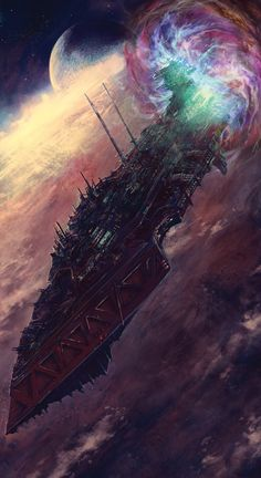 A Chaos ship exiting the Warp - #Warhammer #40K