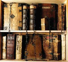 Chained library at Chetham Library in Manchester, England. The oldest public library in the English-speaking world.