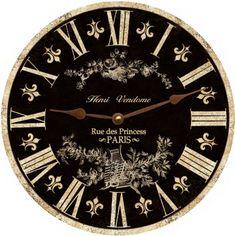 Toile Clock-Black Toile French Clock-Black by TimeFliesClocks