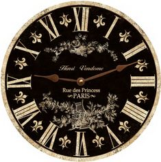 Toile Clock-Black Toile French Clock-Black by TimeFliesClocks