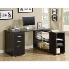 Monarch Cappuccino Hollow Core L Shaped Computer Desk $328.00