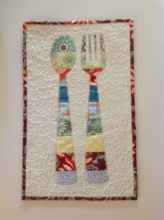 """13"""" x 21"""" wall hanging that could also be used as a table topper or even a large trivet if you used insul-brite as the batting. CUTE!!"""