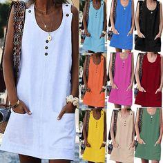 Womens Sleeveless Ladies Summer Cotton Linen Pocket Mini T Shirt Dress Long Tops Moda Casual, Long Shirt Dress, Pinafore Dress, Dresses With Leggings, Swimwear Fashion, Long Tops, Types Of Sleeves, Short Dresses, Summer Dresses