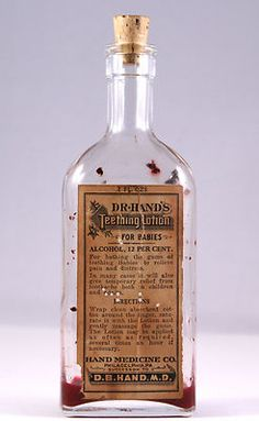 """1890s-1900s """"Dr.Hand's teething lotion for babies"""" rare antique medicine bottle, corked - SOLD"""