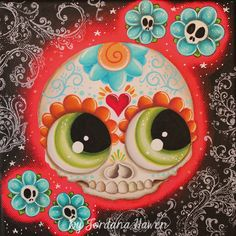 Cute sugar skull by Jordana Hawen SOLD Sugar Skull Tattoos, Sugar Skull Art, Sugar Skulls, Cheshire Cat Art, Crane, Halloween Creatures, All Souls Day, Zombie Girl, Candy Skulls