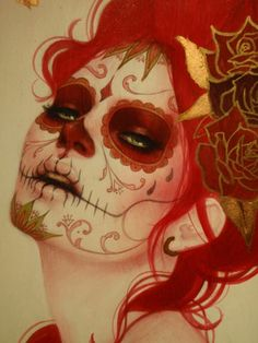 Day of the dead makeup. Sugar skull makeup love the cheeks Sugar Skull Makeup, Sugar Skull Art, Sugar Skulls, Maquillage Halloween, Halloween Makeup, Maquillaje Sugar Skull, Sylvia Ji, Day Of The Dead Girl, Catrina Tattoo