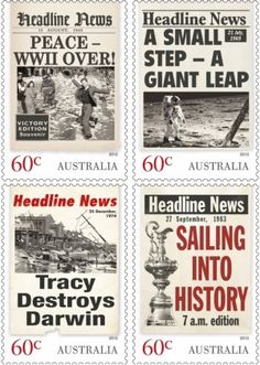 Australian Headline News stamps Newspaper Front Pages, Headline News, Australia, Do You Remember, Stamp Collecting, Darwin, Postage Stamps, Beautiful Words, New Day