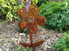 Rusty Flower / Flower Garden Art / Rusty Metal Garden Art / Flower Gift / Flower Silhouette / Fairy Garden / Garden Decor by RustyRoosterMetalArt on Etsy