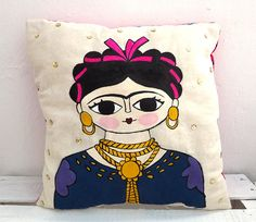 Illustration of Frida Kahlo by Chunchitos Doll Painting, Fabric Painting, Mexican Embroidery, Hand Embroidery, Frida Kahlo Fabric, Diy Pillow Covers, Cushion Covers, Frida Kahlo Portraits, Frida And Diego