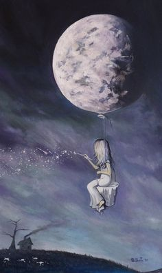 Good Night  Moon ~ #art #painting #stars #girl #moon #night #sky #illustration