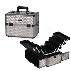 Sunrise Professional Carry-on Cosmetic Train Case Makeup Organizer with 6 Tier Trays, Silver Diamond *** You can get additional details at the image link.
