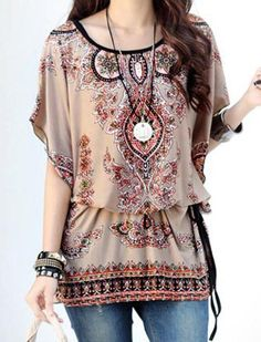 Scoop Neck Dolman Sleeve Ethnic Print T-Shirt