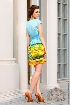Купить или заказать Платье шелковое 'Небо Прованса' в интернет-магазине на Ярмарке Мастеров. Платье из натурального шелка с восхитительным красочным изображением летней провинции.…