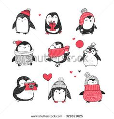 Cute hand drawn penguins set - Merry Christmas greetings - stock vector More