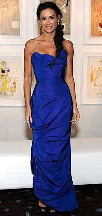 Demi Moore, in a blue Vivienne Westwood gown