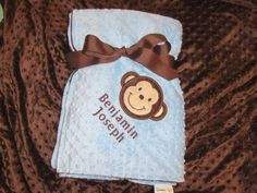Minky Baby Blanket  Personalized Monkey Applique by LullabyGardens, $50.00
