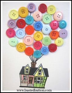 Up house- with buttons! Easy instructions.