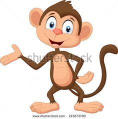 Cartoon monkey presenting …