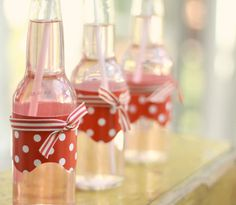 Wrapped Bottles & Ribbon -- Pink Lemonade!
