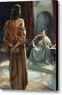 Christ In Front Of Pontius Pilate Canvas Print / Canvas Art By Henry Coller