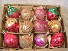 1 Dozen Vintage Multi Color Tear Drop Round Hand Blown Christmas Ornaments