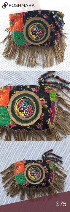 """Antik Batik boho fringe festival clutch handbag RARE fresh gypsy GEM ❤✌️ GORGEOUS in person!  Soft mixed print clutch - in vibrant jewel tones with leather fringe and beaded accents. 6"""" zip closure at top. Interior zip pocket. Body measures 9.5"""" wide x 7"""" tall. ✨♻️✨ I am a Virgo that likes to clean out & recycle so I happily consider offers submitted through the MAKE OFFER button!  Antik Batik Bags Clutches & Wristlets"""