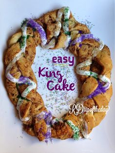 Easy King Cake for Mardi Gras or Easter from @RDtipoftheday