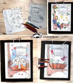 DIY 2013 Calendar with changing scenes, used also as coloring pages Diy Paper Christmas Tree, Christmas Colors, Art Calendar, Kids Calendar, Diy And Crafts, Crafts For Kids, Paper Crafts, Turtle Crafts, Christmas Coloring Pages