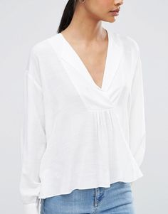 Image 3 of ASOS V Neck Casual Smock Top