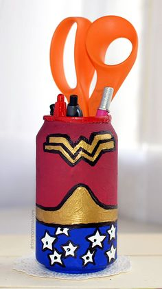Aluminum Can Craft Challenge: Recycled Soda Can Wonder Woman Craft Tutorial - use it as an LED Lantern or DIY Pencil Holder. Craft Projects For Kids, Crafts For Kids To Make, Arts And Crafts Projects, Craft Activities For Kids, Kids Crafts, Activity Ideas, Craft Ideas, Easy Toddler Crafts, Easy Crafts