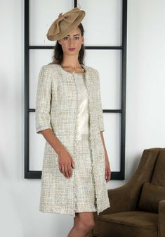 Linea Raffaelli presents this luxurious dress and coat outfit which would be a stunning choice for a glamorous Mother of the Bride or Groom. Cap Dress, Dress Suits, Dressy Jackets, Mother Of Bride Outfits, Boucle Coat, Dresses To Wear To A Wedding, Off White, Beautiful Dresses, Fashion Outfits